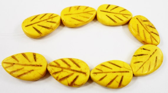 "Stone Leaf Beads 20mm Yellow Leaf Beads, Dyed Howlite Beads, Large Gemstone Leaf Beads on a 6 1/2"" Strand with 8 Beads"