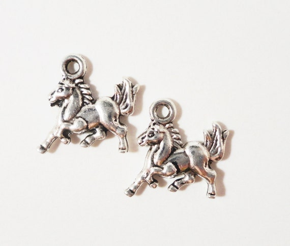 Silver Horse Charms 15x13mm Antique Silver Metal Pony Animal Western Charm Pendant Jewelry Making Jewelry Findings Craft Supplies 10pcs