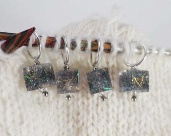 Forest Blaze Sparkle Captured Fiber and Resin Stitch Markers Set of 4