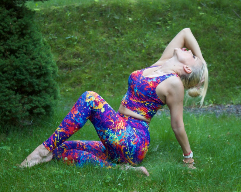 317351c2d9f4b SALE 75% OFF Color splash multi color yoga fitness sports wear   Etsy