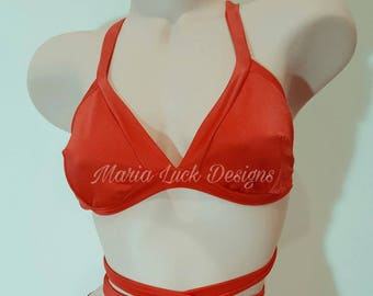 Red bikini top tie around straps swimwear bathing suit by Maria Luck