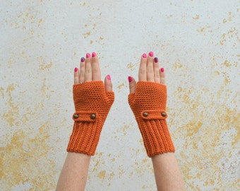 Knitted fingerless gloves, orange mittens for women, wool wrist warmers with buttonned strap, gift for her, knit winter accessory