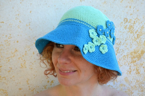 Häkeln Sie, Sonnenhut, Sommer breiter Krempe Hut, Baumwolle Cloche, blau und grün