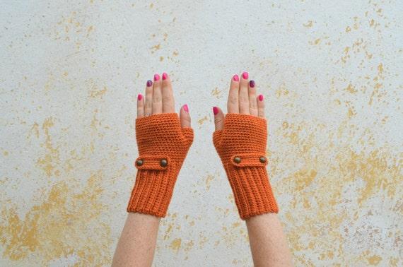 Crochet Fingerless Gloves Knit Foxy Orange Mittens Wool Etsy