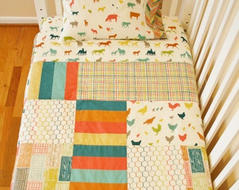 Organic Baby Quilt, Organic Toddler Quilt, Modern Quilt, Farm Fresh, Animals, Baby Quilt Handmade, Organic Baby Bedding, Toddler Bedding