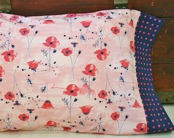 Organic Pillowcase, Floral,  Organic Standard Pillowcase, Pillow Cases, Poppies, Red, Navy Blue, Organic, Custom Pillowcase, Eco Pillowcase