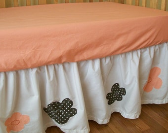 SALE!  Organic Crib Skirt Girl,  Ready to Ship, Baby Girl, Crib Skirt Coral, Crib Bedding, Toddler Bedding, Coral, Peekaboo, Organic, Floral