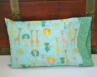 Organic Toddler Pillowcase, Girl, Organic Travel Pillowcase, Kids, Happy Town, Giraffes, Lions, Safari Pillowcase, Toddler Bedding
