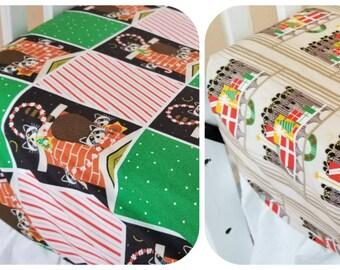 Holiday Crib Sheet, Organic, Vintage Holiday, Charley Harper, Organic Crib Sheet, Organic Toddler Sheet, Raccoons, Birds, Christmas Sheets