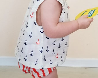 Organic Toddler Outfit, Baby Outfit, Organic Girls Clothing, Bloomers, Shirt, Nautical, Americana, 4th of July, Summer Clothing