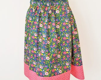 Organic Skirts, Organic Women's Skirts, Gift for Her, Floral, Organic Women's Clothing, Organic Cotton Skirt, Handmade, Pockets