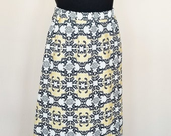 Organic Skirts, Women's Skirt, Holiday Skirt, Black, White and Gold Skirt