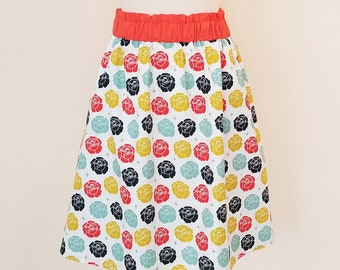 Organic Skirts, Organic Women's Skirts, Gift for Her, Roses, Organic Women's Clothing, Organic Cotton Skirt, Handmade, Pockets