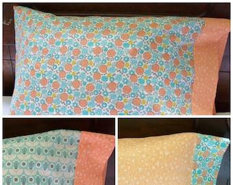 Organic Pillowcase, Girl, Organic Standard Pillowcase, Floral, Retro Blossoms, Coral, Turquoise, Pillow Case, Organic Cotton Pillowcase