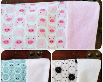 Organic Flannel Pillowcase, Organic Pillowcase, Organic Standard Pillowcase, Owls, Pigs, Sheep, Organic Bedding, Doolittle