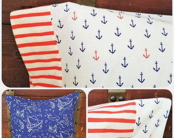 Organic Pillowcase, Organic Standard Pillowcase, Cotton Pillowcase, Beach House Decor, 4th of July, Nautical, Saltwater, Anchors, Boats