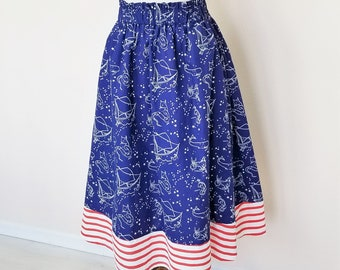 Organic, Skirts, Organic Women's Skirts, Organic Women's Clothing, Cotton Skirt, Handmade, Pockets, Mommy and Me, Nautical, 4th Of July