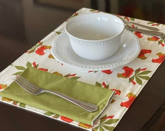 Organic Cotton Placemats, Holiday Placemats Organic, Christmas Table Linens