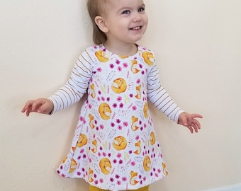 Toddler Tunic Organic, Girls Organic Clothing, Organic Cotton Tunic, Fox Clothing, Girl's Tunic