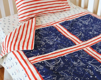 Organic Baby Quilt, Boy, Organic Toddler Quilt, Nautical, Modern Baby Quilt, Neutral, Saltwater, Anchors, Constellations, Ready to Ship