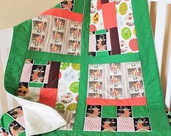 Holiday Quilt, Organic Baby Quilt, Organic Toddler Quilt, Modern Quilt, Christmas Baby Quilt, Charley Harper, Handmade Christmas Quilt