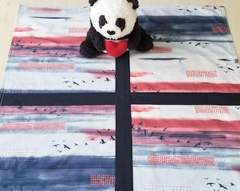 Organic Baby Blanket, Organic Receiving Blanket, Handmade, Gender Neutral, Organic Stroller Blanket, Flannel, Sky, Birds, Wanderlust