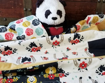 Horse Baby Quilt, Organic Baby Quilt, Organic Toddler Quilt, Handmade, Modern Quilt, Girl, Floral, Handmade Baby Quilt, Tall Tales