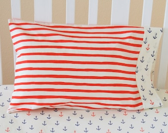 Organic Toddler Pillowcase, Neutral, Organic Travel Pillowcase, Nautical, Stripes, Anchors, Constellations, Organic Toddler Bedding