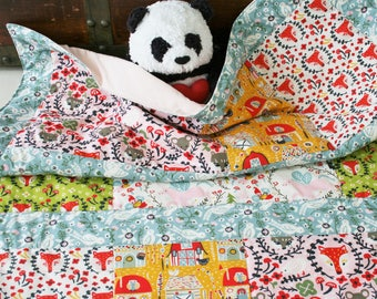 Organic Baby Quilt, Organic Toddler Quilt, Modern Quilt, Girl, Folkland, Pink, Foxes, Fairies, Unicorns, Baby Quilt Handmade, Baby Girl Gift