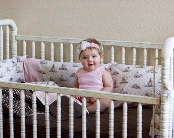 Organic Crib Bedding Set Girl, Organic Baby Bedding Set, Organic Toddler Bedding Set, Toile, Sale, Ready to Ship, Baby Girl, Toile Crib Set