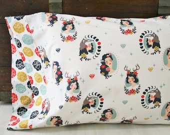Gift for Her, Organic Pillowcase, Organic Standard Pillowcase, Tall Tales, Floral Pillowcase, Pillowcases, Pillow Case, Ready to Ship, Girl