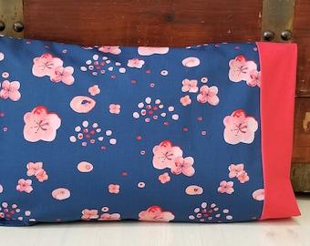Organic Toddler Pillowcase, Organic Travel Pillowcase, Kids, Toddler Bedding, Toddler Girl, Floral, Gift for Her, Haiku, Cherry Blossoms
