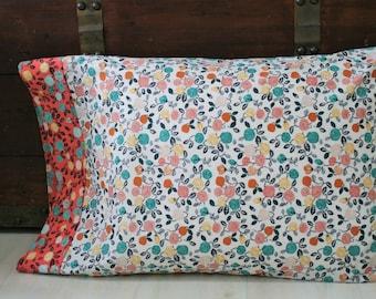 Organic Standard Pillowcase, Organic Pillowcase, Floral Pillowcase, Flowers, Hidden Garden, Organic Cotton Pillowcase, Custom Pillowcase