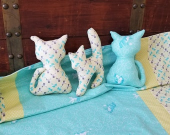 Gift for Baby, Organic Baby Blanket, Baby Shower Gift Set, Organic Stuffed Animals, Cats, Kitties, Stuffed Cat, Receiving Blanket, Blue, Boy