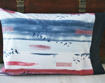 Gift for Mom, Gift for Her, Organic Pillowcase, Organic Standard Pillowcase, Sky, Birds, Wanderlust, Ready to Ship, Pillow Cases