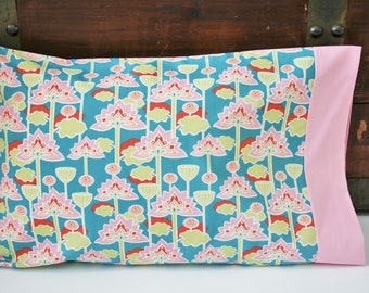 Gift for Her, Organic Travel Pillowcase, Organic Toddler Pillowcase, Lotus Blossom, Floral, Pillow Case, Lotus, Teal, Pink, Ready to Ship