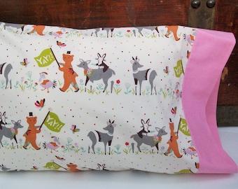 Organic Toddler Pillowcase, Organic Travel Pillowcase, Kids, Pillow cases, Todder Bedding, Deer, Bears, Bunnies, Chickens, Animal Parade