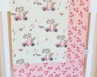 Organic Baby Blanket, Organic Receiving Blanket, Handmade, Baby Shower Gift, Girl, Organic Stroller Blanket, Baby Girl Gift, Kitties, Bloom
