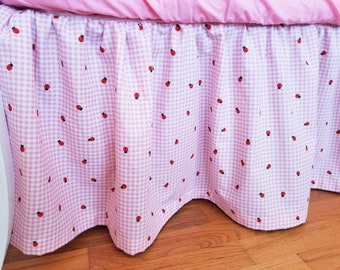 Organic Crib Skirt, Gingham Crib Skirt, Plaid Crib Skirt, Gingham, Plaid, Pink, White, Ladybugs, Organic, BFFS