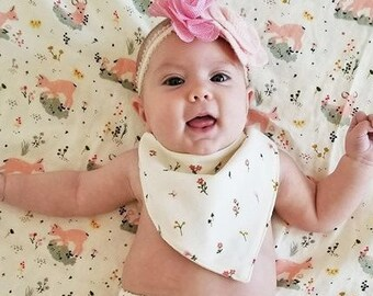 Organic, Bandana Bib, Baby Bib, Baby Gift, Baby Shower Gift, Bandana Bibs for Girls, Bandana Bibs for Boys, Floral, Deer, Birds, Gold