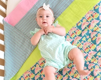Sale, Organic Baby Quilt, Girl, Organic Toddler Quilt, Floral, Lotus Blossom, Ready to Ship, Modern Quilt, Baby Blanket, Toddler Bedding