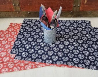 Organic Cotton, Placemats, 4th of July, Home Decor, Housewarming Gift, Table Linens, Red White and Blue, Organic Table Linens
