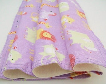 SALE - Organic Baby Blanket, Organic Toddler Blanket, Stroller Blanket, Receiving Blanket, Animal Blanket, Safari Dreams, Lavender, Lion