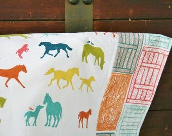 Gift for the Horse Lover, Horses, Organic Pillowcase, Organic Standard Pillowcase, Pillow Case, Horse Pillowcase, Ready to Ship, Barn Doors