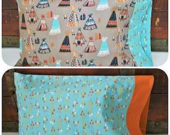 Organic Toddler Pillowcase, Boy, Organic Travel Pillowcase, Kids, Organic Pillowcase, Wildland, Teepees, Arrowheads, Baby Boy, Arrows
