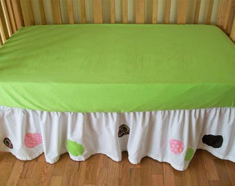 SALE! Organic Crib Skirt, Organic Toddler Bedding, Organic Crib Bedding, Organic Baby Bedding, Baby Girl, Crib Skirt, Crib Dust Ruffle