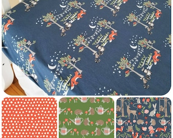 Organic Crib Sheet, Organic Toddler Sheet, Woodland Crib Sheet, Foxes, Hedgehogs, Toadstools, Forest, Deer, Gender Neutral, Cottage Garden
