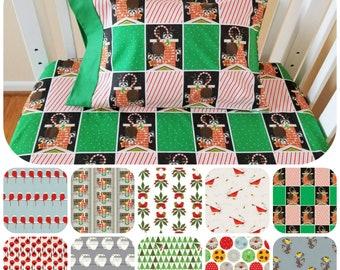 Holiday Crib Sheet Set, Organic, Vintage Holiday, Charley Harper, Crib Sheet Set, Toddler Sheet Set, Raccoons, Birds, Christmas Sheets