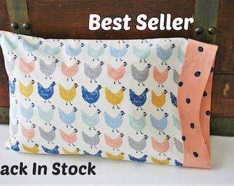 Organic Toddler Pillowcase, Organic Travel Pillowcase, Girl, Kids, Pillow Case, Organic, Chickens, Farmstead, Farm Animals, Roost
