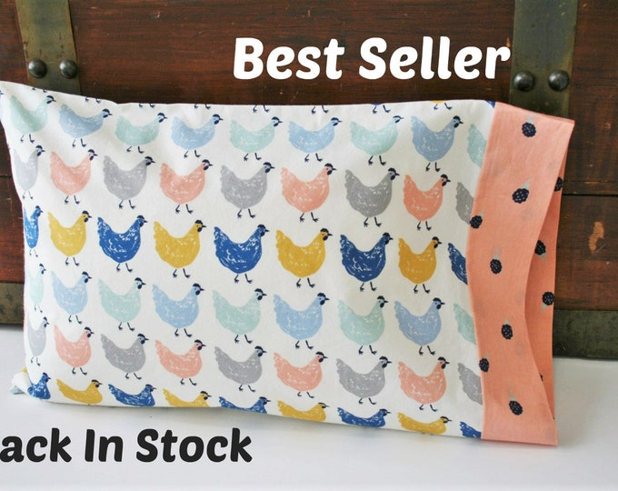 Featured listing image: Organic Toddler Pillowcase, Organic Travel Pillowcase, Girl, Kids, Pillow Case, Organic, Chickens, Farmstead, Farm Animals, Roost